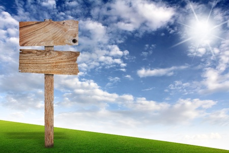 Wooden sign with grass and blue sky  photo