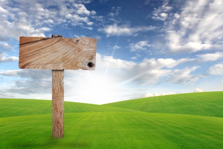 Wooden sign with grass and blue sky  Stock Photo - 14948626