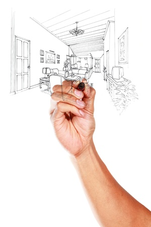 Graphical sketch by pen of an interior living room on whiteboard  Stock Photo - 14948633