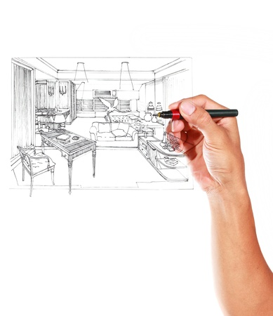 Graphical sketch by pen of an interior living room on whiteboard Stock Photo - 14948637
