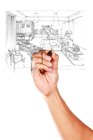 Graphical sketch by pen of an interior living room on whiteboard Stock Photo - 14948635