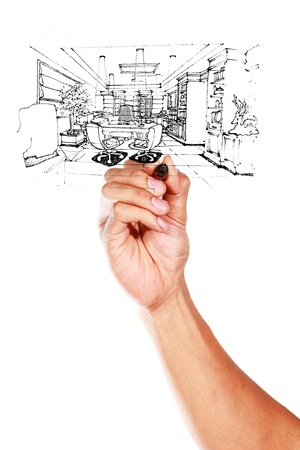 Graphical sketch by pen of an inter living room on whiteboard  Stock Photo - 14948634