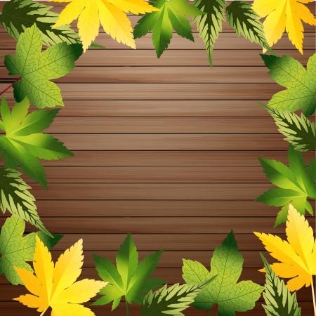 brown: Green leaves frame with wood background, vector illustration
