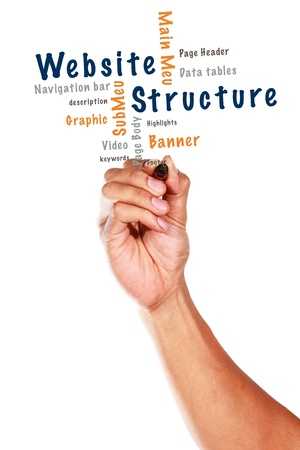 webpages: Website Structure Design teaching and other related words, written on white board