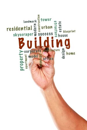 Building concept and other related words, written on whiteboard Stock Photo - 15090536