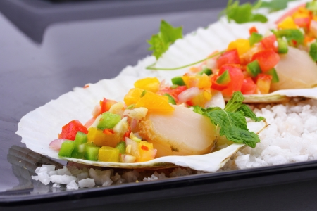 seared scallops with tropical salsa, Macro closeup for design work  photo