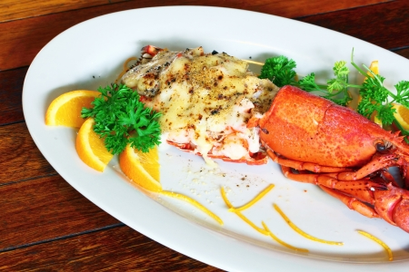 stuffed fish: Lobster thermidor salad  Stock Photo
