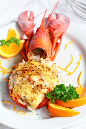 fine fish: Lobster thermidor salad  Stock Photo