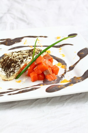 roe: Salmon fillet in cream Sauce caviar.  Stock Photo