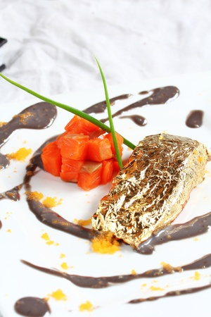 Salmon fillet in cream Sauce caviar.  photo
