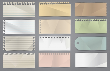 notepaper: Collection of various white note papers  Illustration