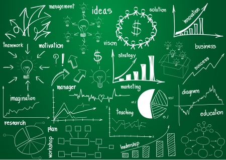 graphic business diagram collection: infographics elements graphics and diagrams, sketch on green board