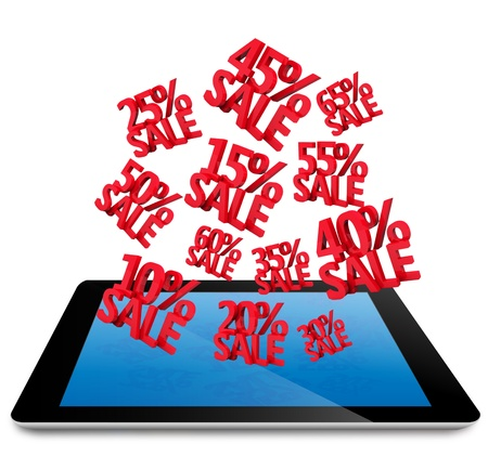 Sale Discounts 3D on computer tablet pc, isolated on white Stock Photo - 15456572