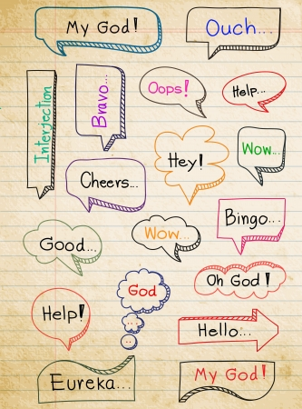 interjection: Hand-drawn, colorful speech bubbles on paper background, With interjection word