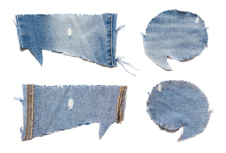 speech bubble blue jeans texture, isolated on white photo
