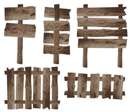 wooden post: vector de madera signo y cerca de madera Vectores