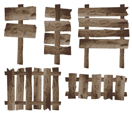 fence post: vector wooden sign and wooden fence