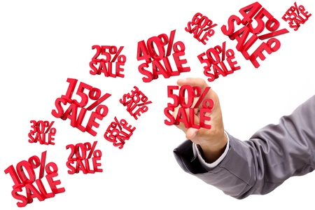 percentages: Hand holding Sale Discounts 3D, isolated on white background