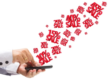 great deal: Hand holding the phone with Discounts 3D, isolated on white background  Stock Photo