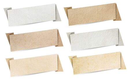Origami speech banners paper texture, isolated on white background photo