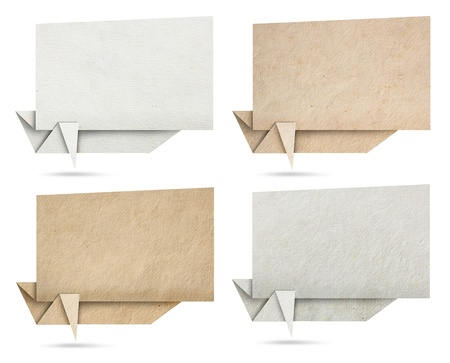 Origami speech banners paper texture, isolated on white background Stock Photo - 15565751