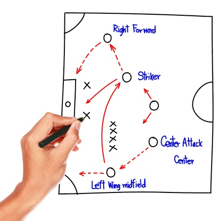 soccer coach: soccer strategy drawing on whiteboard