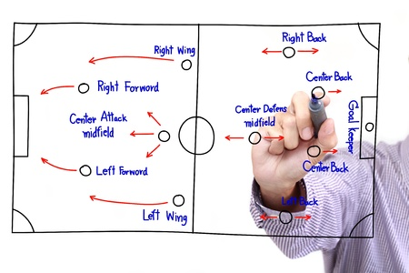 soccer strategy drawing on whiteboard photo