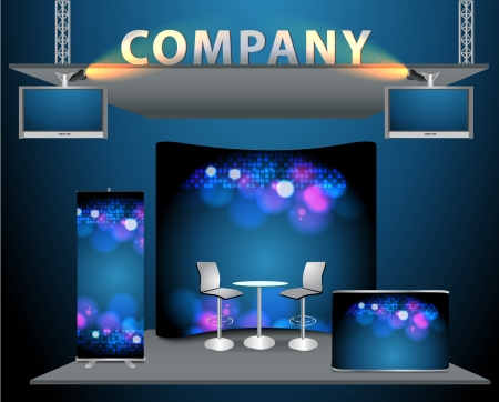 trade exhibition stand with widescreen lcd monitor, counter, chair, roll-up banner and lights with identity background ready for use. Stock Vector - 15643590