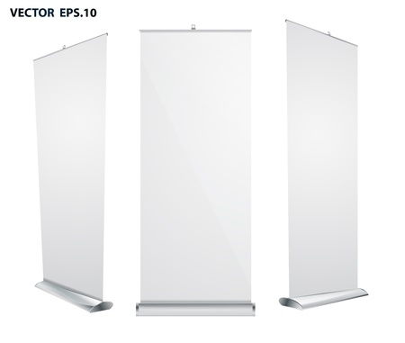 banner stand: roll up banner exhibition display Illustration