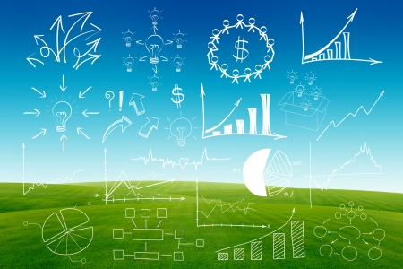 hand drawing business plan concept, on blue sky and green grass background  Stock Photo - 15856507