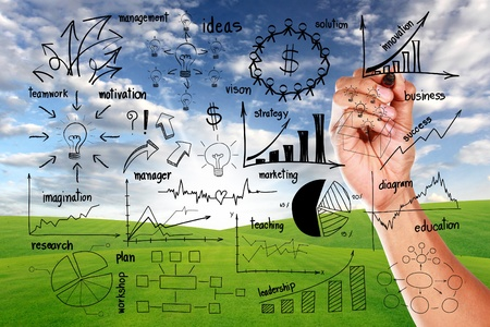 hand drawing business plan concept, on blue sky and green grass background Stock Photo - 15856515