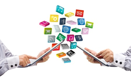 tablet pc and cloud of colorful application  Stock Photo - 15856493