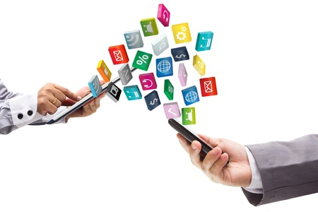 mobile phone with tablet pc and cloud of colorful application Stock Photo - 15856495