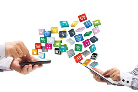 application software: mobile phone with tablet pc and cloud of colorful application