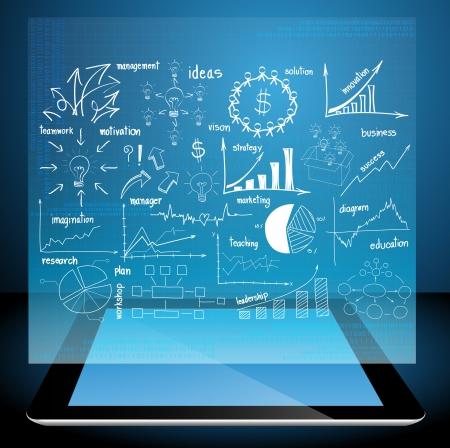 graph: Computer Tablet-PC mit der Erstellung Businessplan Konzeptideen