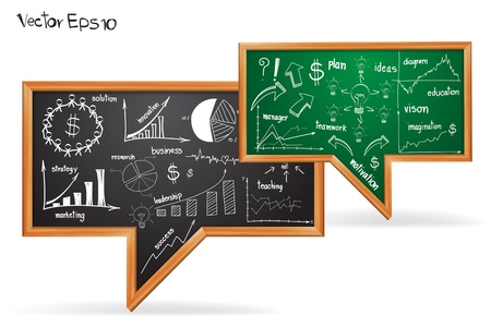 Business strategy plan concept, drawing on speech bubble of chalkboard  Vector