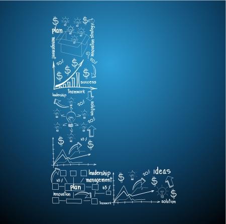 management concept: Dibujo de negocio diagramas de conceptos en planta de las letras del alfabeto