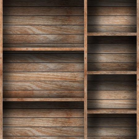 Empty wood shelf  grunge industrial interior Uneven diffuse lighting version  Design component  Stock Photo - 16028473