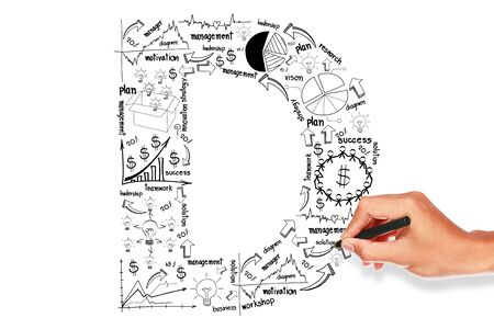 hand drawing alphabet business plan concept on whiteboard  Stock Photo - 16054031