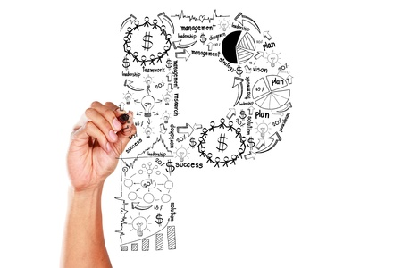 hand drawing alphabet business plan concept on whiteboard Stock Photo - 16054026