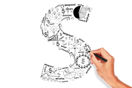 hand drawing alphabet business plan concept on whiteboard  Stock Photo - 16054019