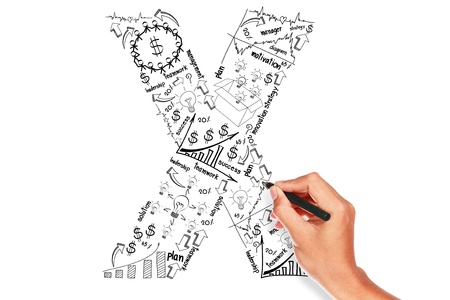 hand drawing alphabet business plan concept on whiteboard  Stock Photo - 16084595