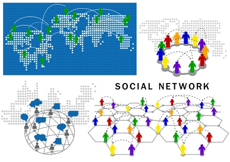 social network structure  Stock Vector - 16027826