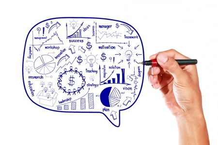 Drawing business plan on whiteboard Stock Photo - 16251445