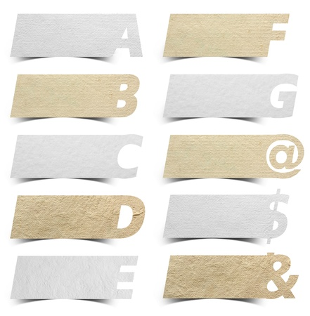 Paper alphabet banners presentations background / product choice or versions, isolated on white background Stock Photo - 16251459