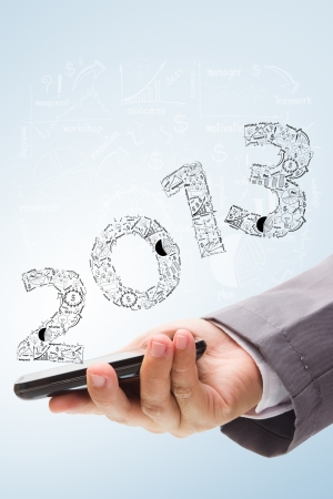 2013 business plan concept ideas, With phone mobile  Stock Photo - 16251486