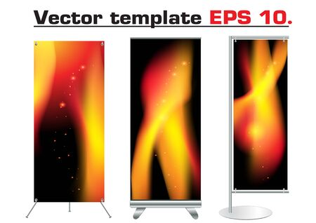 trade show: blank trade show booth With identity template abstract fire background design