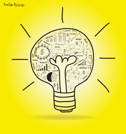 Vector Light bulb with drawing business strategy plan concept idea Stock Vector - 16356907