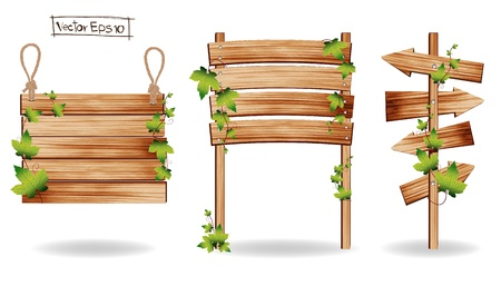 fence post: Wooden signs with green leaves decorative elements, Vector illustration  Illustration