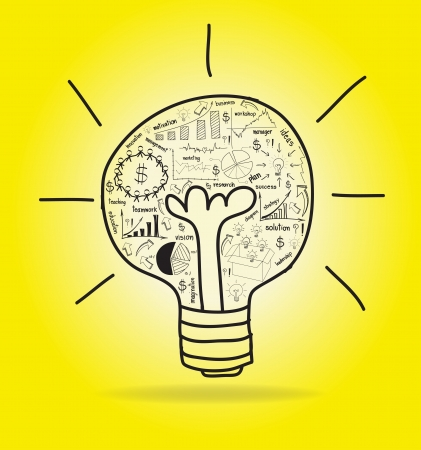 Vector Light bulb with drawing business strategy plan concept idea Stock Vector - 16447241